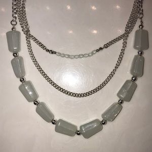 Silver and blue stone necklace
